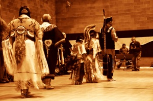 The late Clifford Duncan, Norther Ute elder, leads a traditional dance in Carbondale, Colorado.